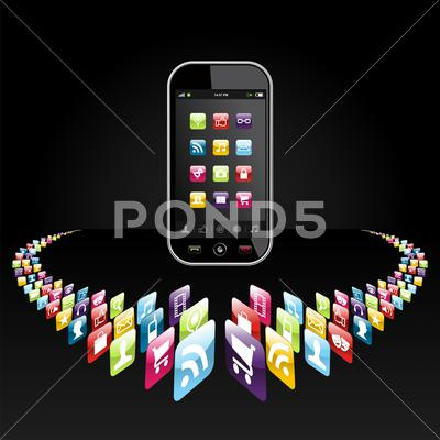 Stock Illustration of smartphone apps icons presentation