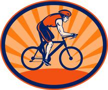 Triathlon athlete riding cycling bike Stock Illustration