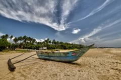 Bentota Beach, Sri Lanka, Boat, HDR - stock photo