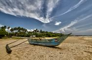 Stock Photo of Bentota Beach, Sri Lanka, Boat, HDR