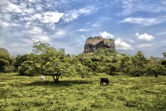 Sigiriya from a distance, Sri Lanka - stock photo