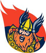 viking warrior or norse god - stock illustration