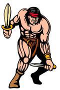 American indian  warrior attacking dagger Stock Illustration