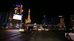 Stock Video Footage of Las Vegas Strip Driving Shot at Night