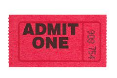 admit one red ticket - stock photo