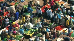 Aerial of African Market Stock Footage