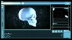 Medical digital interface showing skull Stock Footage