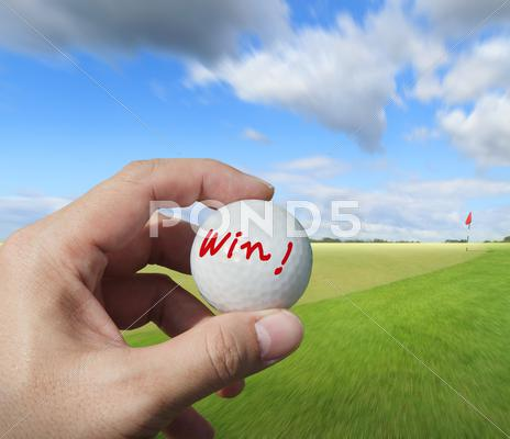 Stock Illustration of golfer putting a ball on the green