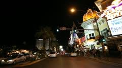 Las Vegas Strip Driving Shot at night Stock Footage