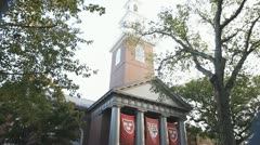 Exterior Memorial Church Building of Harvard University Stock Footage