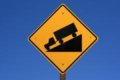 Stock Photo of steep road sign