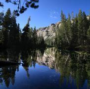 tuolumne river reflection - stock photo