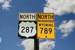wyoming road signs - stock photo