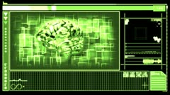 Digital interface featuring revolving brain - stock footage