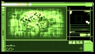 Stock Video Footage of Digital interface featuring revolving brain