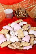 Assorted christmas gingerbread cookies Stock Photos
