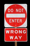 Do not enter wrong way Stock Photos
