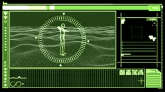 Digital interface showing revolving figure of man Stock Footage