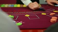Dealer dealing poker cards Stock Footage