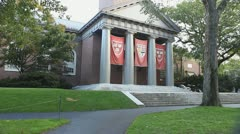 Harvard Flags Veritas Banners Hanging On The Memorial Church Harvard Yard Stock Footage