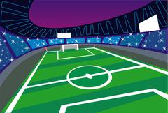 Soccer stadium wide angle perspective Stock Illustration