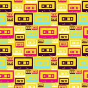 retro pop audio tapes pattern - stock illustration