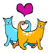 Couple of cats in love. red heart above them on white background Stock Illustration