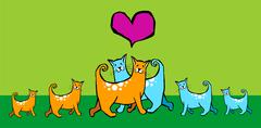 Cats in love with their offspring. Stock Illustration
