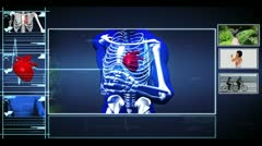 Medical interface showing skeleton running and healthy lifestyle clips Stock Footage