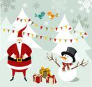 Stock Illustration of santa claus and snowman christmas card.