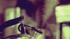 Vintage Tea Kettle - Steaming! Stock Footage