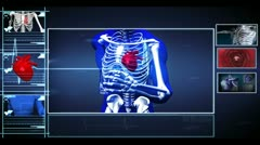 Interface showing running skeleton with pumping heart and vein interior Stock Footage