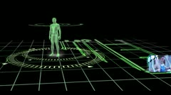 Interface with revolving human body showing various gym clips Stock Footage