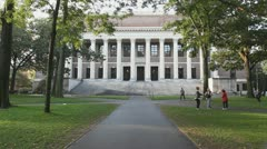 Widener Library Exterior At Harvard  - stock footage