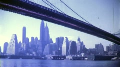 Stock Video Footage of BROOKLYN BRIDGE Lower Manhattan 1950s (Vintage Retro Film Home Movie) 4770