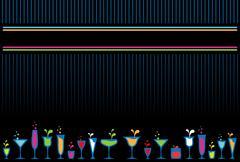 colorful cocktail glasses and bottles background. - stock illustration