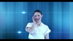 Businesswoman phoning with copyspaces appearing - stock footage