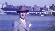 NYC MAN EAST RIVER Williamsburg Bridge 1950s (Vintage Film Home Movie) 4774 Stock Footage