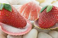 Stock Photo of strawberries in seashells