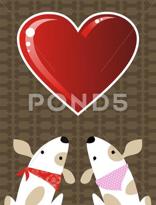 Stock Illustration of valentines dog love background