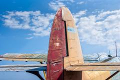 The tail part of the old plane Stock Photos