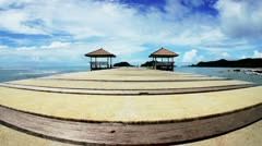 Seascape under blue clouds sky-island koh mak, thailand Stock Footage