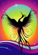 Phoenix bird silhouette re-birth Stock Illustration