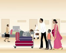 Asian family with luggage Stock Illustration