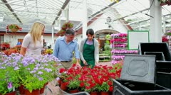 Couple and assistant standing at the garden centre Stock Footage