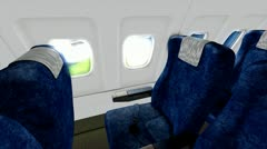 Commercial jet plane cabin view animation. Stock Footage