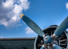 Propeller and engine of vintage airplane Stock Photos