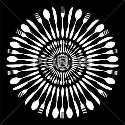 Stock Illustration of black and white cutlery restaurant mandala.