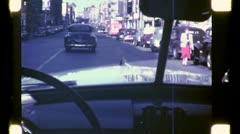 NYC Brooklyn STREET SCENE From Windshield 1945 (Vintage Film Home Movie) 4787 Stock Footage