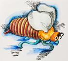 Funny stylized fat striped bee, watercolor with slate-pencil painting Stock Illustration